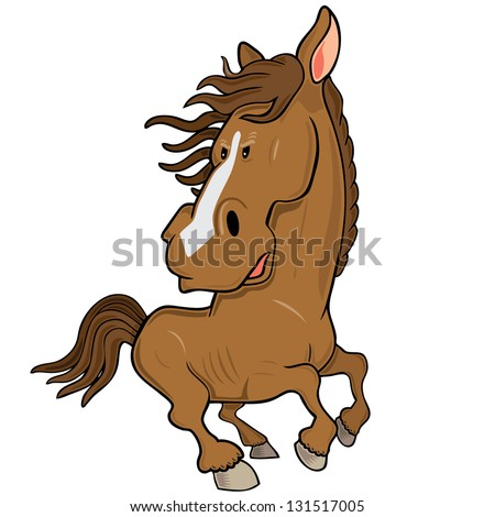Vector illustration of angry wild horse
