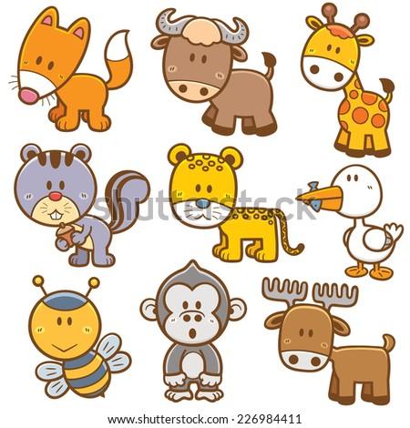 Vector illustration of Animal cartoon  - stock vector