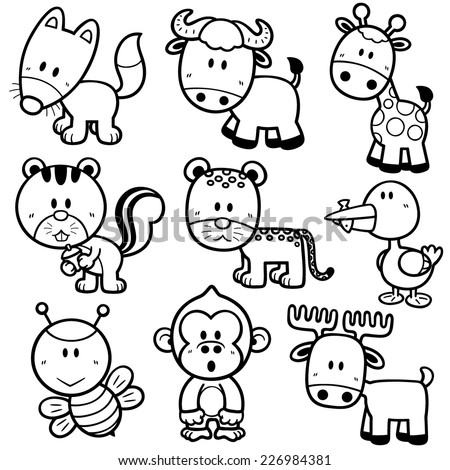 Vector illustration of Animal cartoon - Coloring book - stock vector