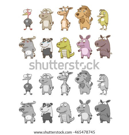vector illustration of animal characters