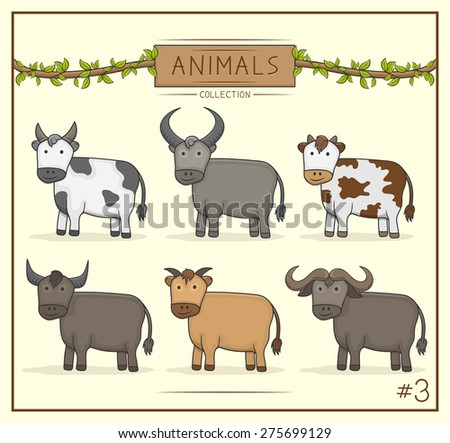 Vector Illustration of Animal cute collection set 3 - stock vector