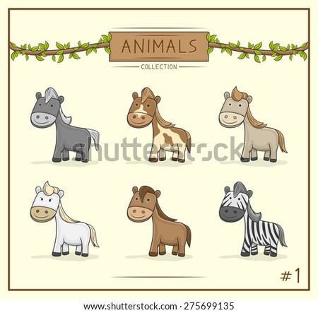Vector Illustration of Animal cute collection set 1  - stock vector