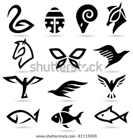 Vector illustration of animal icons silhouettes - stock vector