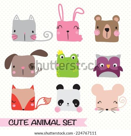Vector illustration of animal set - stock vector