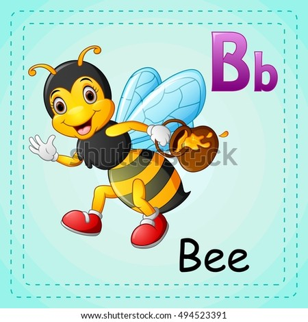 vector illustration of animals alphabet b is for bee