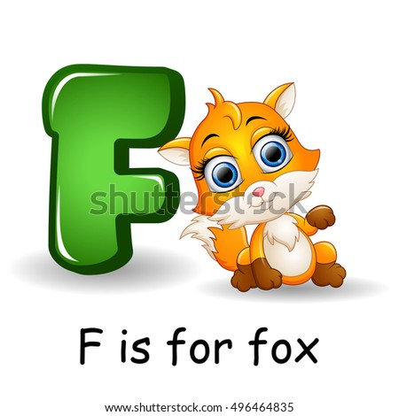 Vector illustration of   Animals alphabet: F is for Fox