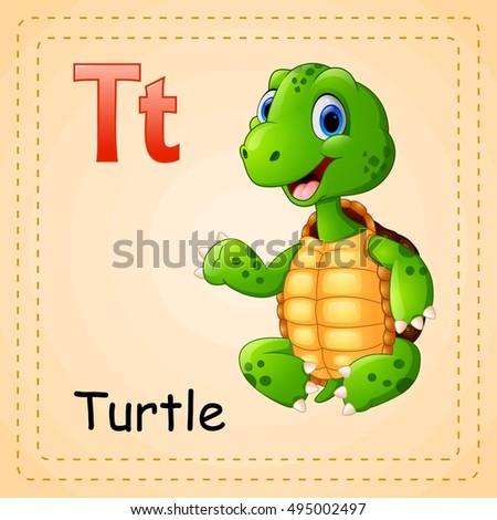 Vector Illustration Animals Alphabet T Turtle Stock Vector