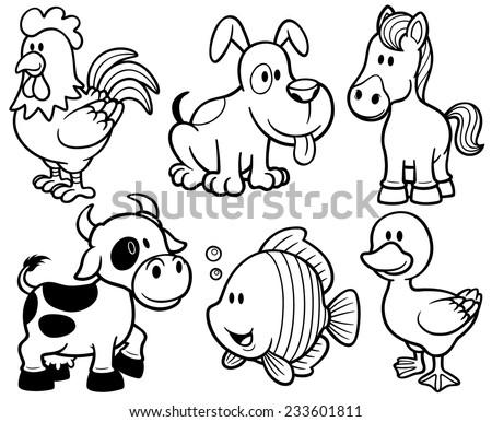 Vector illustration of Animals cartoon - Coloring book - stock vector