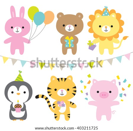 Vector illustration of animals including rabbit, bear, lion, penguin, tiger, and pig at party. - stock vector