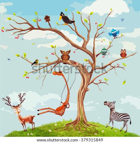 Vector illustration of animals on the tree.Bunch of cute little creatures gathered on the branches of tree - stock vector