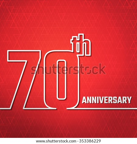 Vector Illustration of Anniversary 70th Outline for Design, Website, Background, Banner. Jubilee silhouette Element Template for greeting card - stock vector