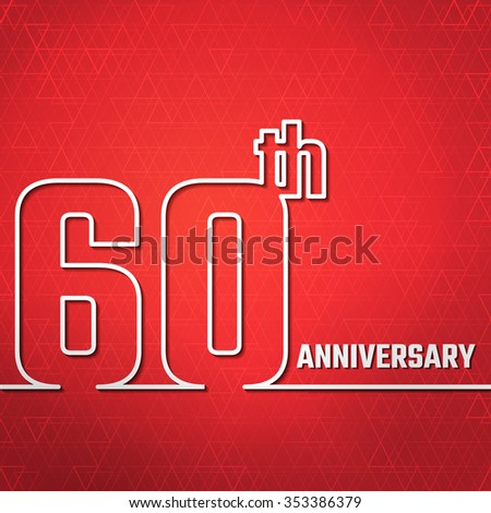Vector Illustration of Anniversary 60th Outline for Design, Website, Background, Banner. Jubilee silhouette Element Template for greeting card - stock vector