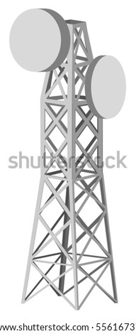 Vector illustration of antenna tower - stock vector