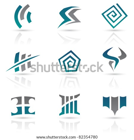 Vector Illustration of Antique Style Abstract Icons - stock vector