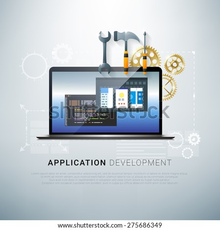 Vector illustration of app development and coding process - stock vector