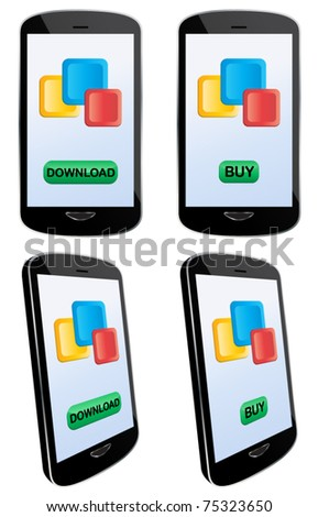 Vector illustration of app downloading and buying with touch screen mobile phone. EPS8 file layered and grouped for easy editing - stock vector