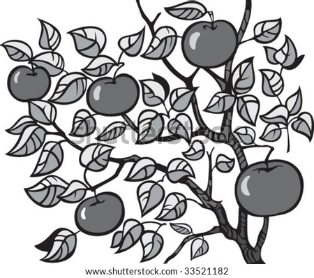 vector illustration of apple-tree with apples - stock vector
