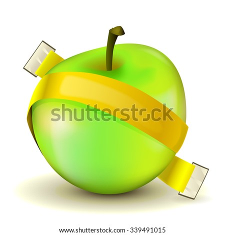 Vector illustration of apple with yellow measuring tape without scale - stock vector