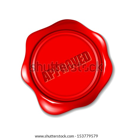 vector illustration of approved wax seal - stock vector