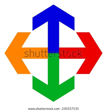 Vector illustration of 4 arrow - pointer red, blue, green, orange - stock vector