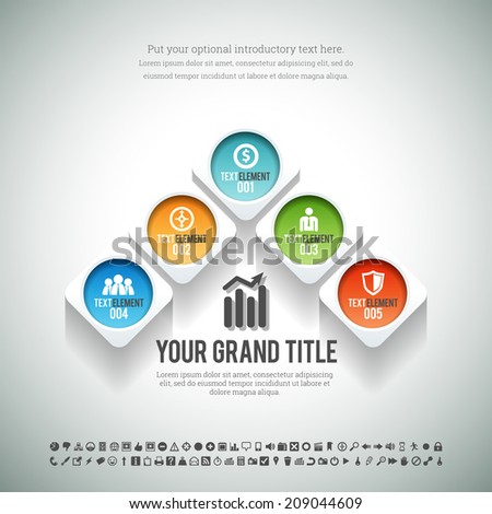 Vector illustration of arrow shape of square and circle infographic element. - stock vector