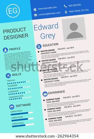 vector illustration artistic resume design template stock vector
