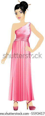 Vector Illustration of Asian woman with pink dress.