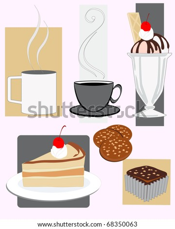 vector illustration of assorted cafe snacks