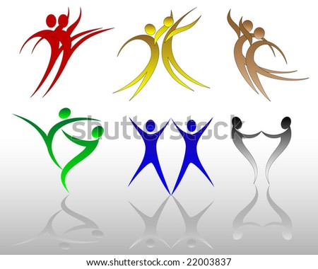 vector illustration of assorted figure movements - stock vector