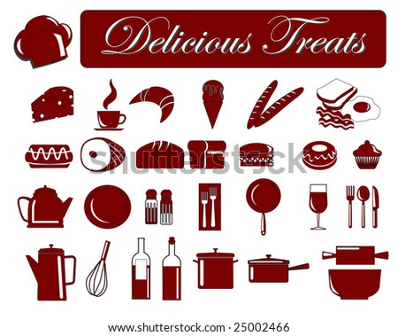 vector illustration of assorted food icons - stock vector