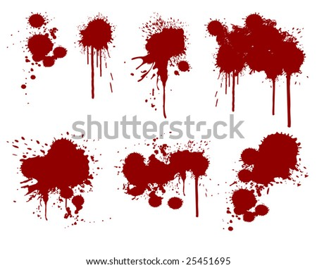 vector illustration of assorted ink splatters - stock vector