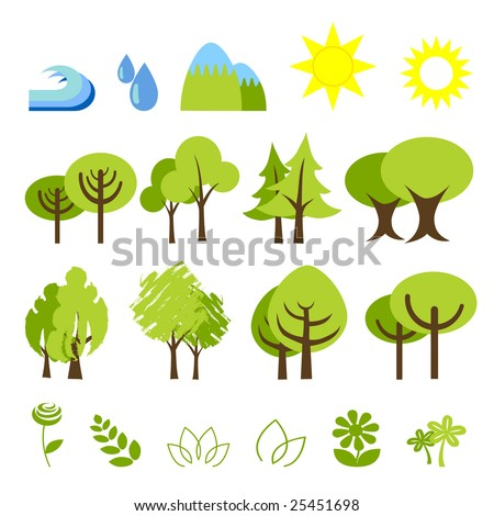 vector illustration of assorted nature elements and symbols - stock vector