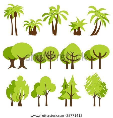 vector illustration of assorted trees - stock vector