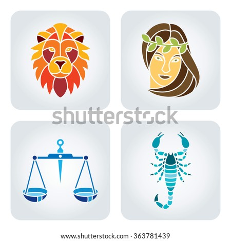 Vector illustration of astrology symbols: 