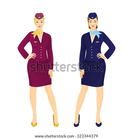 Vector illustration of attractive young stewardess in blue uniform - stock vector