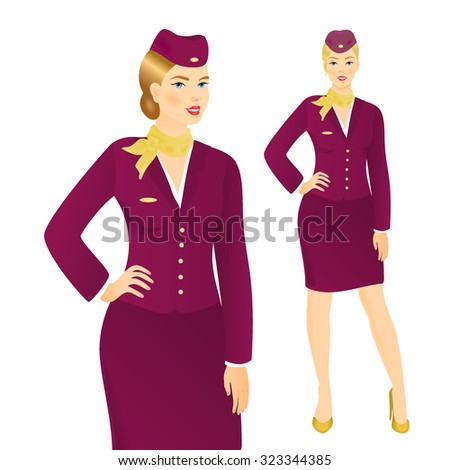 Vector illustration of attractive young stewardess in uniform - stock vector