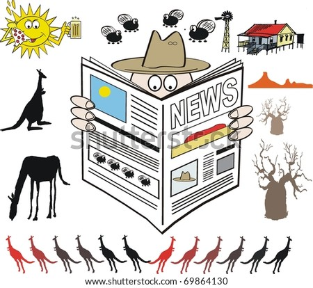 Vector illustration of Australian farmer reading newspaper with outback background. - stock vector