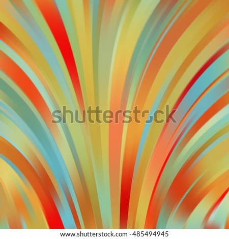 Vector illustration of autumn-colored abstract background with blurred light curved lines. Vector geometric illustration.
