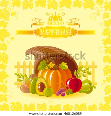 Vector illustration of autumn thanksgiving greeting card with holiday symbols on sunny background - horn of plenty with pumpkin vegetable and vineyard leafs frame. Modern elegant seasonal still life.