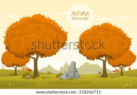 Vector illustration of Autumn theme - stock vector