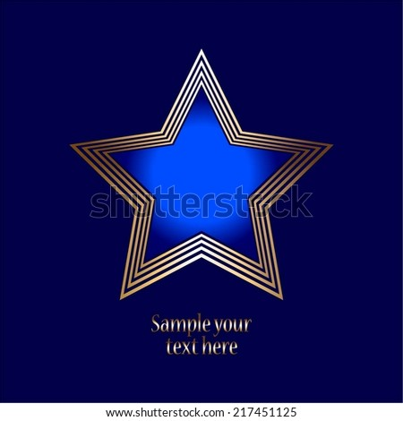 Vector illustration of Award. Blue background. Gold star - stock vector