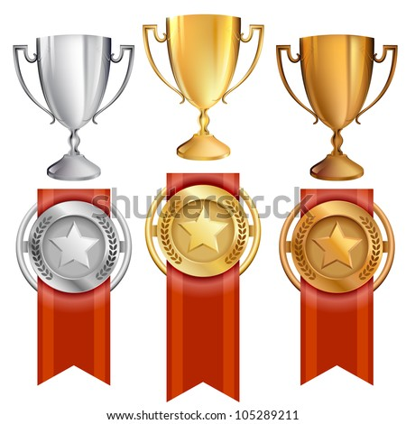 Vector Illustration of award trophies for first, second, and third place ranks. 1st place is gold, 2nd place is silver, 3rd place is bronze. Red ribbons are attached to medals with stars on them. EPS10 - stock vector
