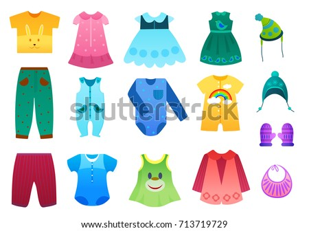 Vector Illustration Of Baby And Children Kids Clothes Collection Cartoon