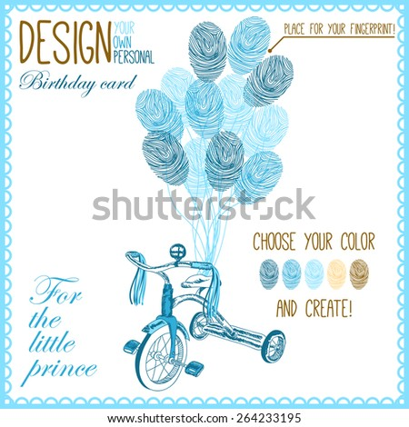 Vector illustration of  baby bicycle for little boy with balloons. Variant of design of your birthday card - stock vector