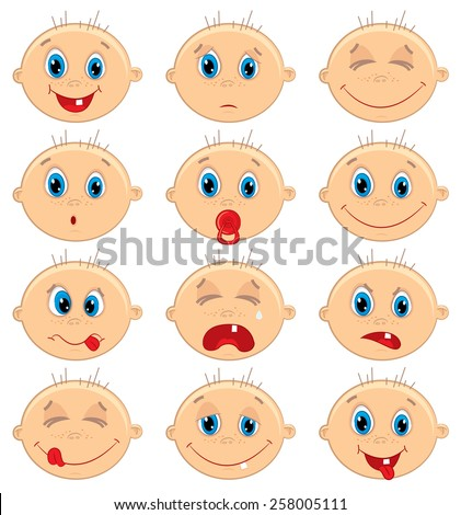 Vector illustration of baby boy faces. - stock vector