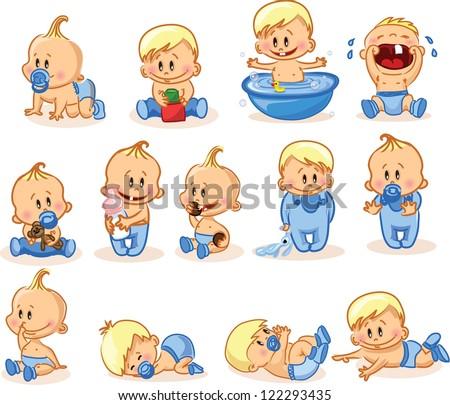 Vector illustration of baby boys - stock vector
