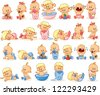 Vector illustration of baby boys and baby girls - stock photo