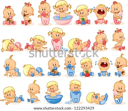 Vector illustration of baby boys and baby girls - stock vector