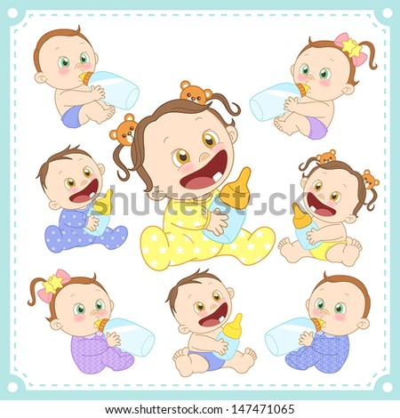 vector illustration of baby boys and baby girls with white background. - stock vector
