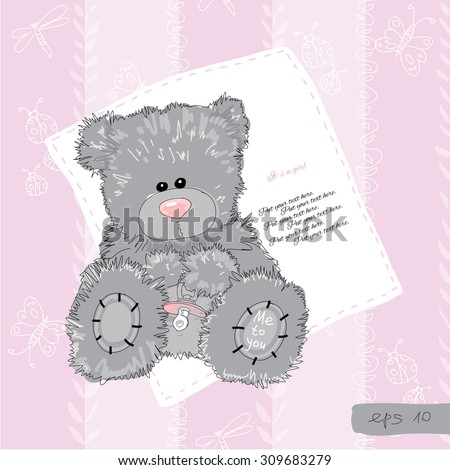 Vector illustration of baby girl card with teddy bear and text on pink background. Hand draw - stock vector